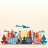 Επίπεδο σχέδιο πανοράματος μητροπόλεων της Μπανγκόκ Στοκ φωτογραφίες με δικαίωμα ελεύθερης χρήσης
