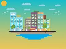 Επίπεδο σχέδιο παραλιών Στοκ εικόνα με δικαίωμα ελεύθερης χρήσης