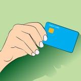 Επίπεδο σχέδιο πιστωτικών κάρρων χεριών holdign - διανυσματική απεικόνιση Στοκ Φωτογραφία