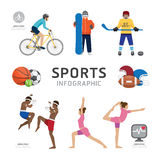 Επίπεδο σχέδιο προτύπων εικονιδίων αθλητισμού και Wellness υγείας Infographic Στοκ φωτογραφίες με δικαίωμα ελεύθερης χρήσης