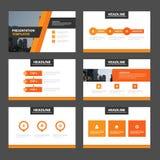 Επίπεδο σχέδιο στοιχείων Infographic προτύπων παρουσίασης κομψότητας πορτοκαλί που τίθεται για το φυλλάδιο διανυσματική απεικόνιση