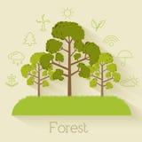 Επίπεδο σχέδιο της οικολογίας, περιβάλλον, πράσινος καθαρός Στοκ φωτογραφία με δικαίωμα ελεύθερης χρήσης
