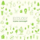 Επίπεδο σχέδιο της οικολογίας, περιβάλλον, πράσινος καθαρός Στοκ Φωτογραφίες