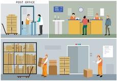 Επίπεδο σχέδιο της υπηρεσίας ταχυδρομείων: εργαζόμενοι γραφείων, ταχυδρόμοι, άνθρωποι, εσωτερικό, ενέργειες και δραστηριότητες Στοκ Εικόνα