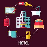 Επίπεδο σχέδιο υπηρεσιών ξενοδοχείων Στοκ φωτογραφία με δικαίωμα ελεύθερης χρήσης