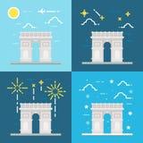 Επίπεδο σχέδιο Arc de Triomphe Γαλλία διανυσματική απεικόνιση