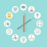 Επίπεδο σχέδιο Infographics εικονιδίων εκπαίδευσης Εκπαίδευση, έννοια προγράμματος σπουδών Στοκ Εικόνες