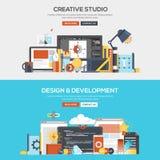 Επίπεδο σχεδίου έννοιας στούντιο και ανάπτυξη εμβλημάτων δημιουργικό ελεύθερη απεικόνιση δικαιώματος