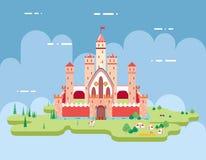 Επίπεδο σχεδίου του Castle εικονίδιο παραμυθιού κινούμενων σχεδίων μαγικό απεικόνιση αποθεμάτων