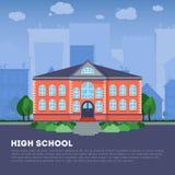Επίπεδο σχολικό κτίριο στη μεγάλη πόλη Στοκ φωτογραφία με δικαίωμα ελεύθερης χρήσης