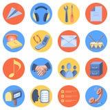 Επίπεδο σύγχρονο σύνολο εικονιδίων για την κινητή διεπαφή Ελεύθερη απεικόνιση δικαιώματος