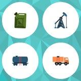 Επίπεδο σύνολο βενζίνης εικονιδίων εγκατάστασης γεώτρησης, εμπορευματοκιβωτίου, φορτηγού και άλλων διανυσματικών αντικειμένων Επί ελεύθερη απεικόνιση δικαιώματος