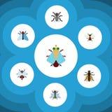 Επίπεδο σύνολο βόμβου εικονιδίων βόμβου, μικροσκοπικός, μύγας και άλλων διανυσματικών αντικειμένων Επίσης περιλαμβάνει την κοπριά απεικόνιση αποθεμάτων
