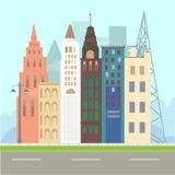 Επίπεδο σύνολο εικονιδίων απεικόνισης σχεδίου σύγχρονο διανυσματικό αστικής ζωής τοπίων και πόλεων εικονίδιο οικοδόμησης απεικονι Στοκ Εικόνες