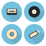 Επίπεδο σύνολο εικονιδίων αποθηκεύσεων μουσικής Στοκ Εικόνες