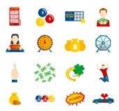 Επίπεδο σύνολο εικονιδίων λαχειοφόρων αγορών ελεύθερη απεικόνιση δικαιώματος