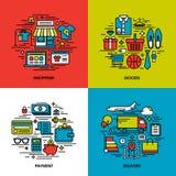 Επίπεδο σύνολο εικονιδίων γραμμών αγορών, αγαθά, πληρωμή, παράδοση ελεύθερη απεικόνιση δικαιώματος