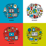 Επίπεδο σύνολο εικονιδίων γραμμών επιστήμης, οικολογία, ιατρική, εκπαίδευση διανυσματική απεικόνιση