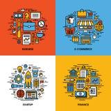 Επίπεδο σύνολο εικονιδίων γραμμών επιχείρησης, ηλεκτρονικό εμπόριο, ξεκίνημα, χρηματοδότηση απεικόνιση αποθεμάτων