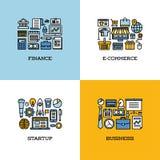 Επίπεδο σύνολο εικονιδίων γραμμών χρηματοδότησης, ηλεκτρονικό εμπόριο, ξεκίνημα, επιχείρηση διανυσματική απεικόνιση