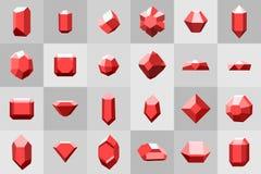 Επίπεδο σύνολο εικονιδίων Διαμάντι πολύτιμοι λίθοι, και πέτρες σε πολλές παραλλαγές Στοκ εικόνα με δικαίωμα ελεύθερης χρήσης