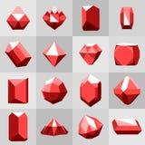 Επίπεδο σύνολο εικονιδίων Διαμάντι πολύτιμοι λίθοι, και πέτρες σε πολλές παραλλαγές Στοκ φωτογραφία με δικαίωμα ελεύθερης χρήσης