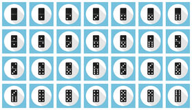 Επίπεδο σύνολο εικονιδίων διπλός-έξι ντόμινο Στοκ Εικόνες