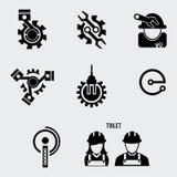 Επίπεδο σύνολο εικονιδίων μηχανικών Στοκ φωτογραφία με δικαίωμα ελεύθερης χρήσης