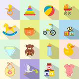 Επίπεδο σύνολο εικονιδίων μωρών Στοκ φωτογραφία με δικαίωμα ελεύθερης χρήσης