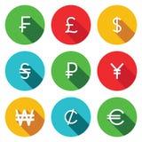 Επίπεδο σύνολο εικονιδίων νομίσματος Στοκ Φωτογραφίες