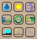 Επίπεδο σύνολο εικονιδίων οικολογίας Στοκ εικόνα με δικαίωμα ελεύθερης χρήσης