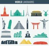 Επίπεδο σύνολο εικονιδίων παγκόσμιων ορόσημων Ταξίδι και τουρισμός διάνυσμα ελεύθερη απεικόνιση δικαιώματος