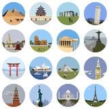 Επίπεδο σύνολο εικονιδίων παγκόσμιων ορόσημων Στοκ εικόνα με δικαίωμα ελεύθερης χρήσης
