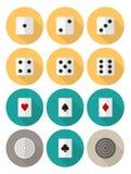 Επίπεδο σύνολο εικονιδίων παιχνιδιών πινάκων και καρτών Στοκ Εικόνα