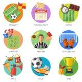 Επίπεδο σύνολο εικονιδίων ποδοσφαίρου Στοκ εικόνες με δικαίωμα ελεύθερης χρήσης
