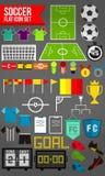 45 επίπεδο σύνολο εικονιδίων ποδοσφαίρου Στοκ φωτογραφία με δικαίωμα ελεύθερης χρήσης