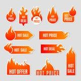 Επίπεδο σύνολο εικονιδίων πώλησης πυρκαγιάς Στοκ φωτογραφίες με δικαίωμα ελεύθερης χρήσης