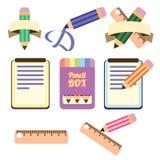 Επίπεδο σύνολο εικονιδίων Σημειωματάριο και μολύβια εγγράφου Στοκ Εικόνες
