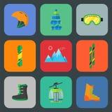 Επίπεδο σύνολο εικονιδίων σκι και σνόουμπορντ διανυσματική απεικόνιση