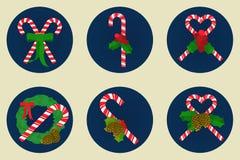 Επίπεδο σύνολο εικονιδίων, σχέδιο καλάμων καραμελών Χριστουγέννων Στοκ Φωτογραφία