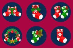 Επίπεδο σύνολο εικονιδίων, σχέδιο καλτσών Χριστουγέννων Στοκ Εικόνα