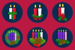 Επίπεδο σύνολο εικονιδίων, σχέδιο κεριών Χριστουγέννων Ελεύθερη απεικόνιση δικαιώματος