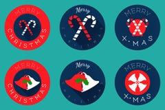 Επίπεδο σύνολο εικονιδίων, σχέδιο σφαιρών Χριστουγέννων Απεικόνιση αποθεμάτων