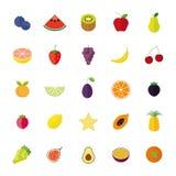 Επίπεδο σύνολο εικονιδίων σχεδίου απομονωμένο φρούτα διανυσματικό διανυσματική απεικόνιση