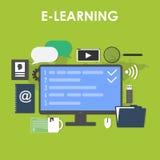 Επίπεδο σύνολο εικονιδίων σχεδίου εξ αποστάσεως εκπαίδευσης Διανυσματική απεικόνιση