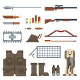 Επίπεδο σύνολο εικονιδίων σύγχρονου σχεδίου διανυσματικό εργαλείων και εξοπλισμού κυνηγιού Στοκ Εικόνα