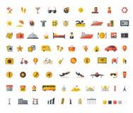 Επίπεδο σύνολο εικονιδίων ταξιδιού Στοκ φωτογραφίες με δικαίωμα ελεύθερης χρήσης