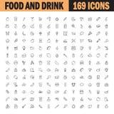 Επίπεδο σύνολο εικονιδίων τροφίμων και ποτών Στοκ εικόνα με δικαίωμα ελεύθερης χρήσης