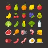Επίπεδο σύνολο εικονιδίων τροφίμων Στοκ Εικόνες