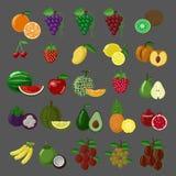 Επίπεδο σύνολο εικονιδίων φρούτων ύφους στοκ εικόνες